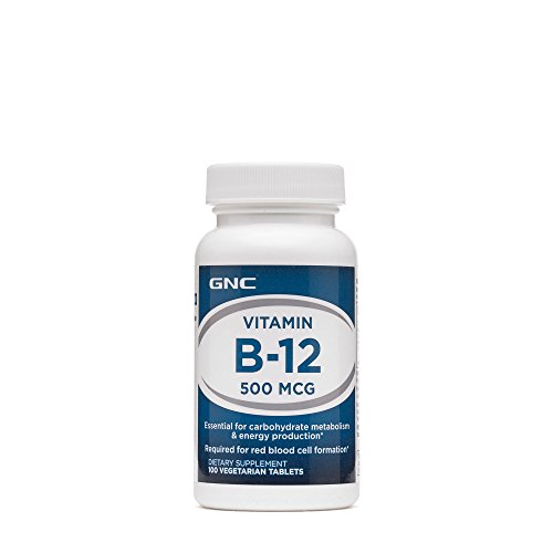 GNC Vitamin B-12 500mcg, 100 Tablets, Supports Carbohydrate Metabolism and Energy Production