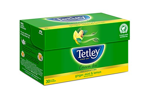 Tetley 1 Green Tea, Ginger Mint & Lemon, 30 Tea (Tetley Lemon Tea)