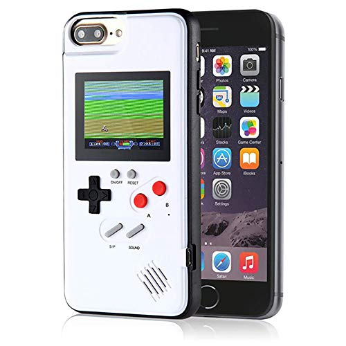 Gameboy Case for iPhone,LucBuy Retro Protective Cover Self-powered Case with 36 Small Game, Full Color Display, Shockproof Video Game Case for iPhone X/Xs/MAX/Xr/6/7/8Plus (White, iPhone 6P/6sP/7P/8P)