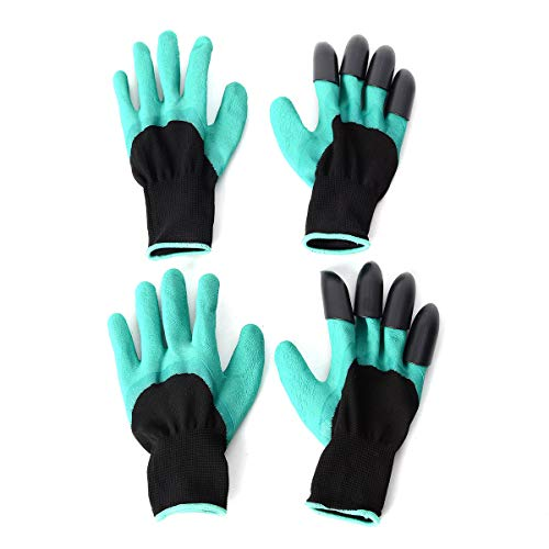 Set of 2 70% Latex and 30% Polyester Puncture Resistant Claws Garden Gloves One Size Fits Most