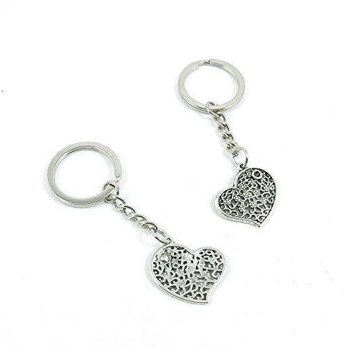 40 Pieces Keychain Door Car Key Chain Tags Keyring Ring Chain Keychain Supplies Antique Silver Tone Wholesale Bulk Lots X5GW3 Love Heart by WOWGAME2009 KEYRING (Image #1)'