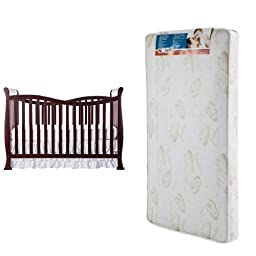 Dream On Me Violet 7 in 1 Convertible Life Style Crib, Cherry and Spring Crib and Toddler Bed Mattress, Twilight