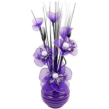Purple Artificial Flowers with Plum Vase, Decoration, Home Accessories & Decoration, Suitable for Bathrooms, Bedroom or Kitchen Windows/Shelf, 32 cm