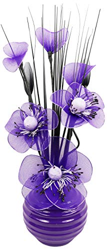 - Purple Artificial Flowers with Plum Vase, Decoration, Home Accessories & Decoration, Suitable for Bathrooms, Bedroom or Kitchen Windows/Shelf, 32 cm