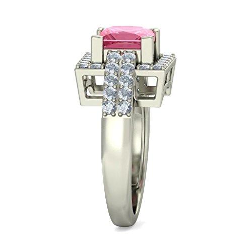 18K Or Blanc, 0,72CT TW Diamant Blanc (IJ   SI) Tourmaline Rose et diamant Bague