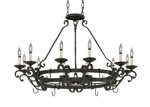Designers Fountain 9031-NI Natural Iron Barcelona 12 Light Chandelier w/Pot Rack Barcelona 12 Light Chandelier