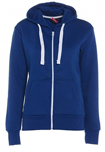 WOMENS PLAIN HOODIE LADIES HOODED ZIP ZIPPER TOP SWEAT SHIRT JACKET COAT SWEATER (Hoodie Royal Blue)