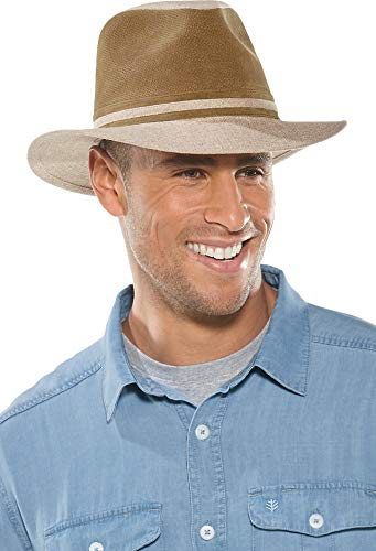 Coolibar UPF 50+ Men's Gardiner Suede Fedora - Sun Protective (Small/Medium- Tan/Stone Colorblock)]()