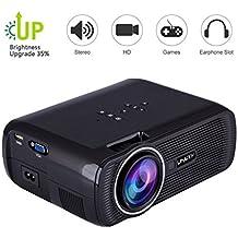 TOPRUI Portable U80 Mini LED Projector 1080P Full HD, 3000 Lumens Video Projectors Support HDMI USB SD Card VGA AV for Home Theater Small Projector (Black)