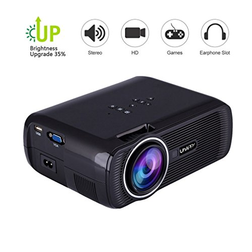 TOPRUI Portable U80 Mini LED Projector 1080P Full HD, 3000 Lumens Video Projectors Support HDMI USB SD Card VGA AV for Home Theater Small Projector (Black)