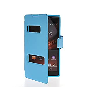 KCASE Side Flip Leather Stand Back Case Cover For Sony Xperia C S39h Blue