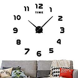 Large Frameless 3D DIY Wall Clock,3D Mirror Wall Clock Large Mute Wall Stickers  for Living Room Bedroom Home Decorations(Black)