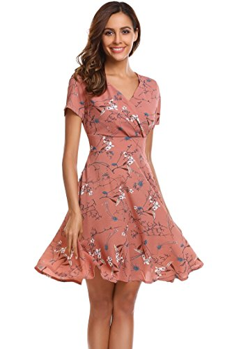 BEAUTYTALK Women's v-Neck Graphic Sleeve Short Fit-and-Flare Dress, Pink, (Wrap Style Dress)