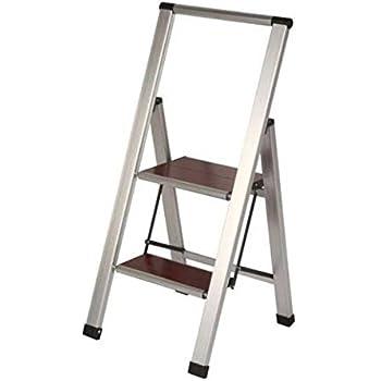 3 02 Brushed Aluminum Wood Lightweight 2 Step Ladder