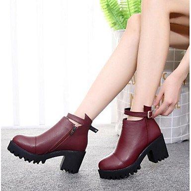 Botas de la mujer confort PU Primavera Casual plana negra roja Ruby