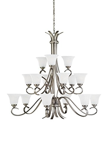 Sea Gull Lighting 31363-965 Fifteen-Light Rialto Chandelier with Etched White Alabaster Glass Shades, Antique Brushed Nickel Finish - 3/4' Dia Antique