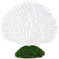 SODIAL(R) Ornament Artificial Coral Underwater Plant for Fish Tank Aquarium White + Green