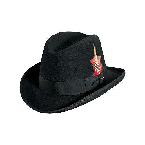 Scala Classico Men's Wool Felt Homburg Hat, Black, - Wool Homburg Dress Hat