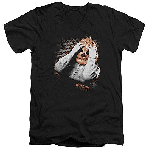 Halloween Iii Pumpkin Mask Unisex Adult V-Neck T Shirt for Men and Women, Large Black