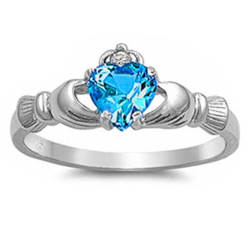 Oxford Diamond Co Blue CZ & Russian Cz Claddagh .925 Sterling Silver Ring Size ()