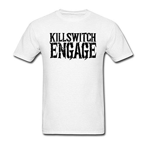 LSLEEVE Men's Killswitch Engage Logo White T-shirt