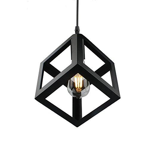 Square Hanging Lamp (Betorcy Vintage Geometric Pendant Light Cage, Industrial Metal Hanging Lamp Fixtures, E26/E27 Base, for home, restaurant, bar, hotel, art lighting)