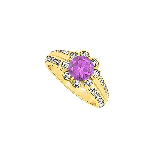 Fashion Amethyst and CZ Floral Ring in 18K Yellow Gold Vermeil over Sterling Silver 1.50 CT TGW