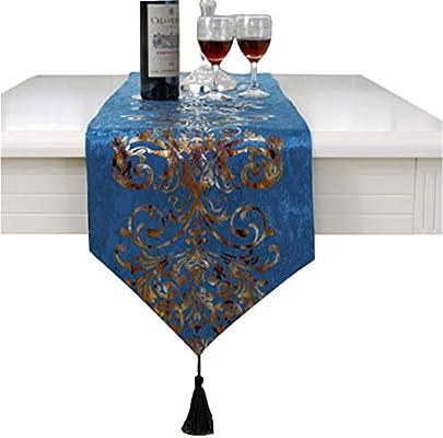 Camino de mesa de lujo con bordado de flores, azul, 33 * 210cm ...