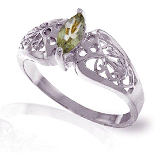 Amethyst White Gold Filigree Ring - ALARRI 0.2 Carat 14K Solid White Gold Filigree Ring Green Amethyst With Ring Size 7