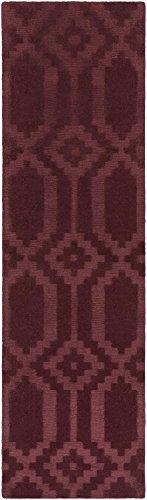 Super Area Rugs Area Rug, Burgundy Transitional Handmade Wool 3-D Diamonds Carpet, 2'3