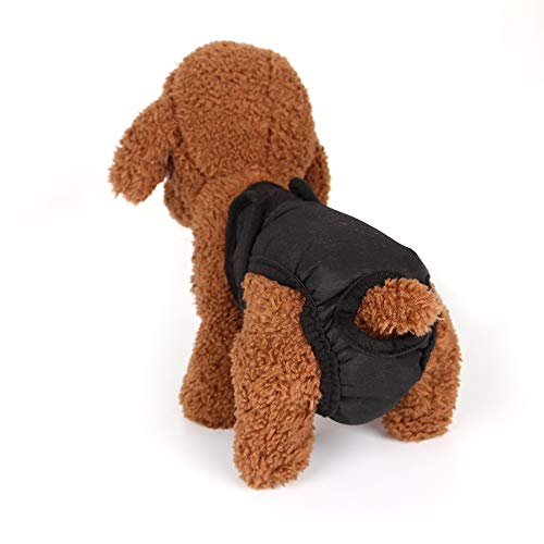 (Pet Diapers, Dogs Female Sanitary Pants Soft Breathable Cotton Washable Reusable Dog Physiological Pants for Puppy Small Medium Large Dogs (S, Black))