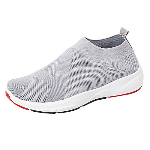 Sherostore ♡ Women's Slip-On Sneakers Mesh Loafer Casual Walking Shoes Ultra Lightweight Breathable Knitted Socks Shoes Gray
