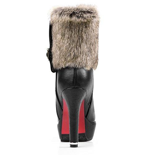 Bottes Chaussures Fourrure et avec Motard Femmes UH Boucle wPHzEq5