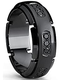 8MM Men's Black Titanium Wedding Band Ring with Black Cubic Zirconia CZ