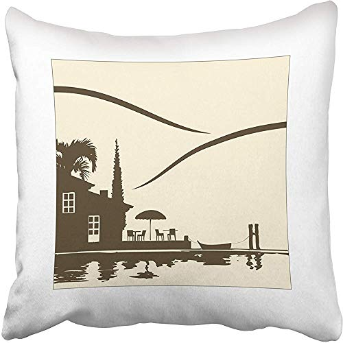 Staromia Decorative Throw Pillow Covers Cases House Nice Restaurant The Lake Terrace Mediterranean Parasol Como Italy Silhouette Enjoy 18x18 Inches Pillowcases Case Cover Cushion Two Sided (Best Restaurants Lake Como)