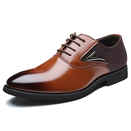 Stringate da Uomo Uomo Casual Derby Formale Business Pointed Lace Up Uniform Scarpe Oxford Party Office Scarpe da Sposa di Grandi Dimensioni 39-48 Brown