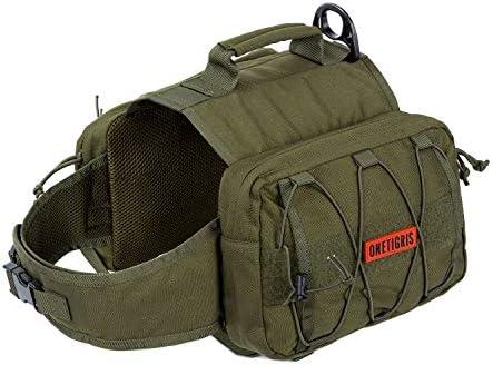 OneTigris Dog Pack Hound Travel Camping Hiking Backpack Saddle Bag Rucksack for Medium & Large Dog (Ranger Green)