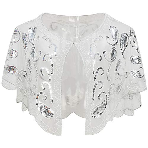 - BABEYOND 1920s Shawl Wraps Sequin Beaded Evening Cape Bridal Shawl Bolero Flapper Cover Up (White)