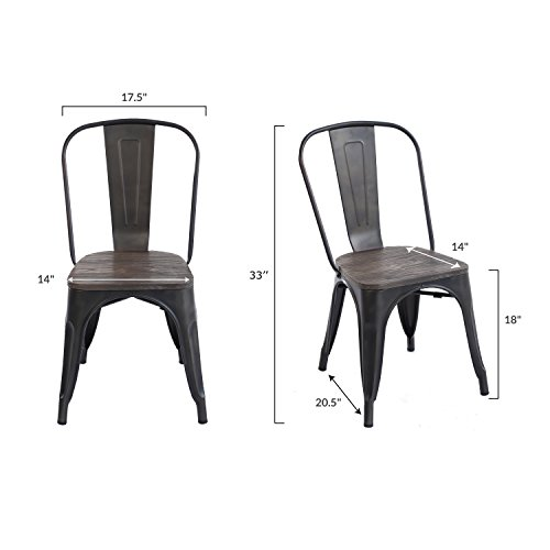 Poly and Bark Trattoria Side Chair with Elm Wood Seat in Bronze (Set of 2) by POLY & BARK (Image #4)