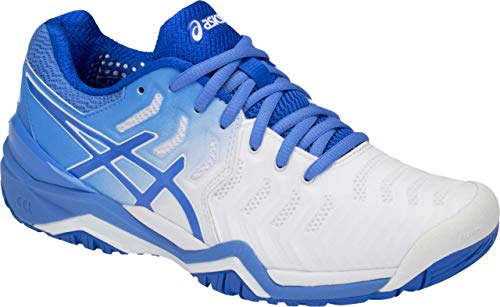 (ASICS Gel-Resolution 7 Women's Tennis Shoe, White/Blue Coast, 9 B US)