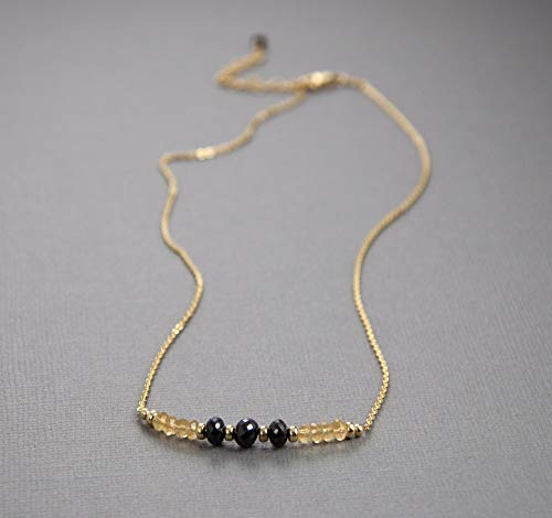 Citrine Black Spinel Gold Chain Necklace 16 in. LLD Jewelry ()