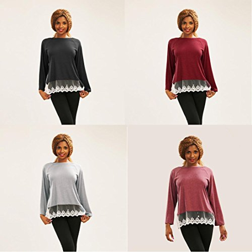 Camisetas de Mujer, FAMILIZO Moda Mujeres Cordón Suelto manga larga Tops Blusa Camiseta Casual Camisetas Women's Tops Gris