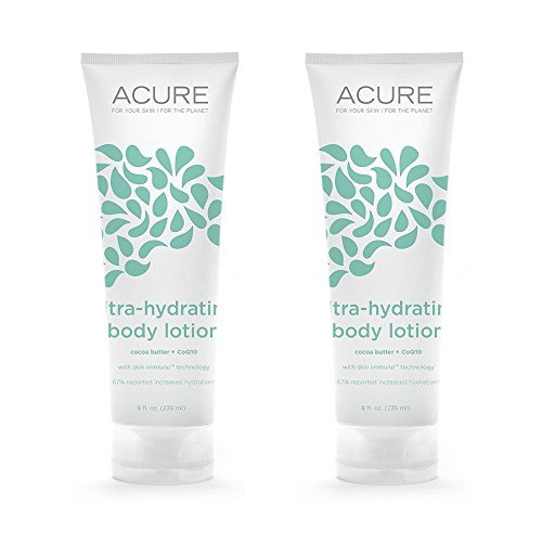 Acure Organics Ultra-Hydrating Fragrance Free Body Lotion With Fair Trade Organic Olive Oil, Cocoa Butter, Evening Primrose and CoQ10, 8 oz. (Pack of 2)