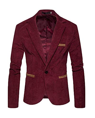 Slimfit Élégant Costume Blazer One Hommes Suit Vestes Loisirs Burgunderrot Veste Button qaFO8nZtO