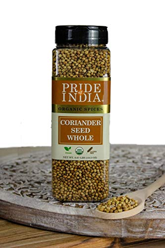 Pride Of India - Organic Coriander Seed Whole - 10.5 oz (298 gm) Small Dual Sifting Jar - Authentic Indian Culinary Spice - Best for Chutney, Pickles & Casseroles - Superb Value for Money
