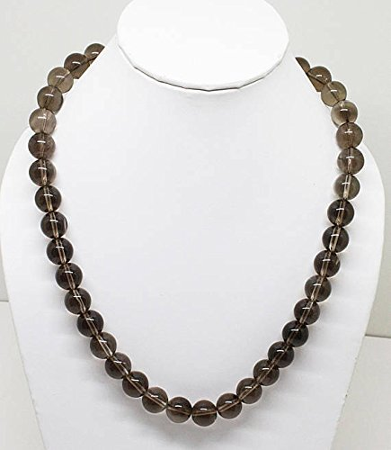 50% Off Smokey Quartz Round Beads Necklace/Hand Made Smoky Quartz Beaded Necklace/Ready to wear/Beaded Necklace, Gemstone Necklace ()