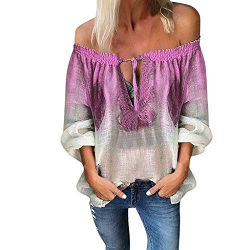 Aniywn Women Gradient Boho V Neck Tops Baggy Long Sleeve Off Shoulder Printing Loose Blouse Tee Purple