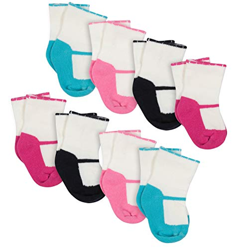 Gerber Baby Girls 8-Pair Wiggle Proof Sock, SHOES, 0-6 ()