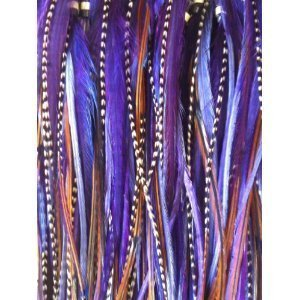8-12 Purple Remix with Brown Feathers for Hair Extension i tip crimp beads.