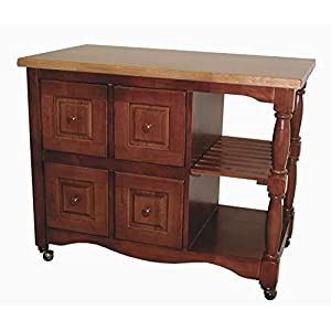 Sunset Trading Oak Selections Kitchen Cart, Four Drawers, Medium Walnut with Light Top